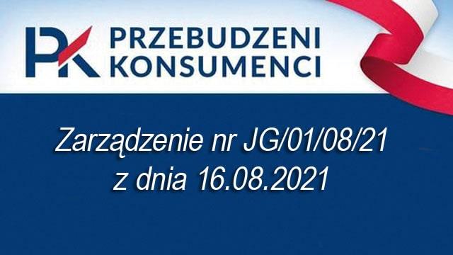 Zarządzenie nr JG/01/08/21 z dnia 16.08.2021 r.