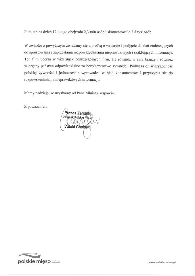 Pismo od Polskie Mięso do GIS